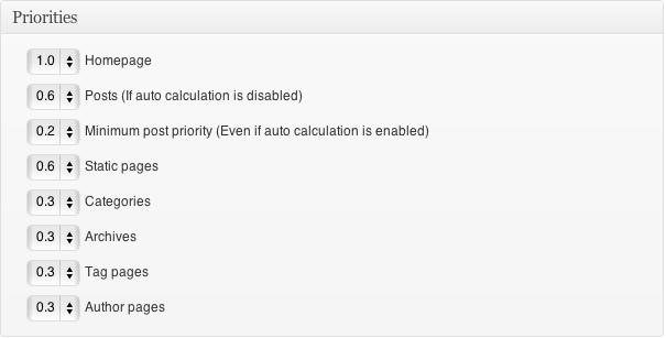 Google XML Sitemaps Priorities