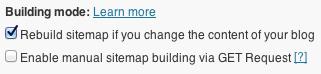 Google XML Sitemaps Building mode