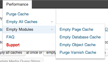 W3 Total Cache plugin - screenshot showing options to purge individual modules