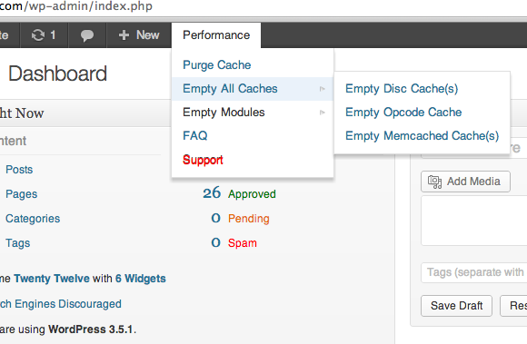 W3 Total Cache plugin screenshot - purge from admin menu bar